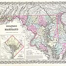 Vintage Map of Maryland (1855) by alleycatshirts
