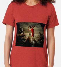 Siren - Surreal Ballerina in Red Tri-blend T-Shirt
