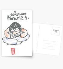 I Consume Libraries Watercolor Etegami postcard Postcards