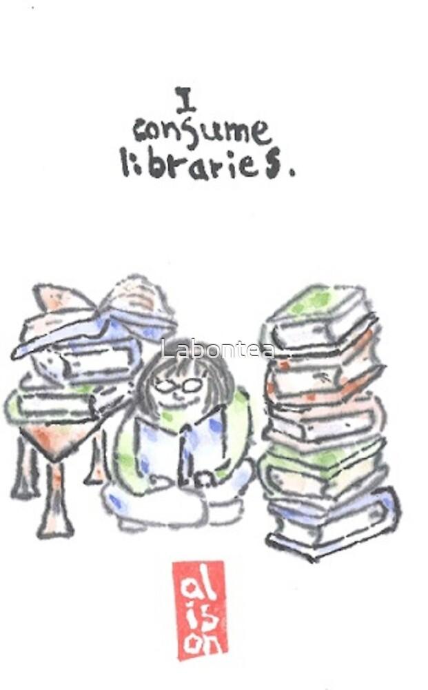 I consume libraries -- watercolor postcard by Labontea
