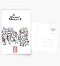 I consume libraries -- watercolor postcard Postcards