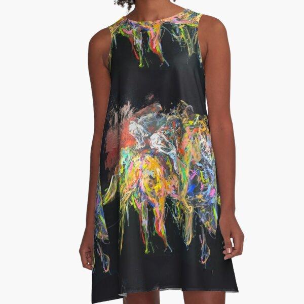 Derby Abstrakt A-Linien Kleid