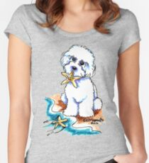 Beach Babe Bichon Women's Fitted Scoop T-Shirt