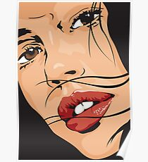 Beautiful Brown Eyed Girl with Red Lips Poster