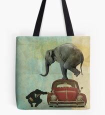 Looking for Tiny _ elephant on a red VW Tote Bag