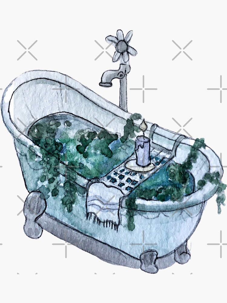 Ocean Infused Clawfoot Bathtub - Sea Portal Bath in Watercolor by WitchofWhimsy
