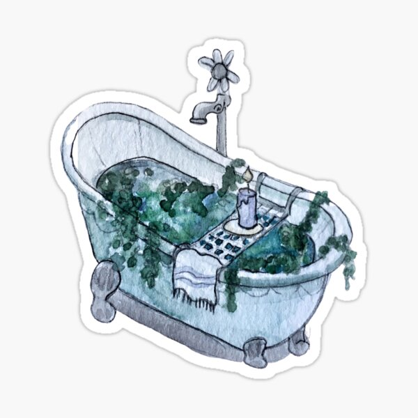 Ocean Infused Clawfoot Bathtub - Sea Portal Bath in Watercolor Sticker