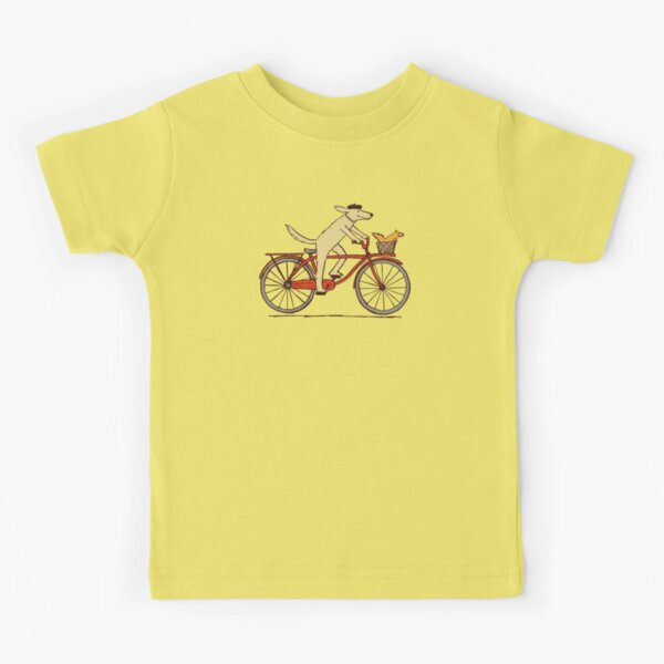Dog and Squirrel are Friends | Whimsical Animal Art | Dog Riding a Bicycle Kids T-Shirt