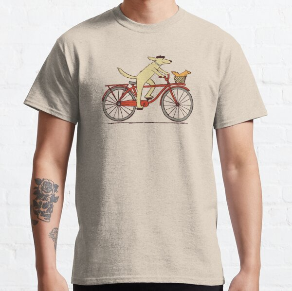 Dog and Squirrel are Friends | Whimsical Animal Art | Dog Riding a Bicycle Classic T-Shirt