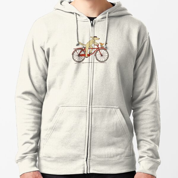 Dog and Squirrel are Friends   Whimsical Animal Art   Dog Riding a Bicycle Zipped Hoodie