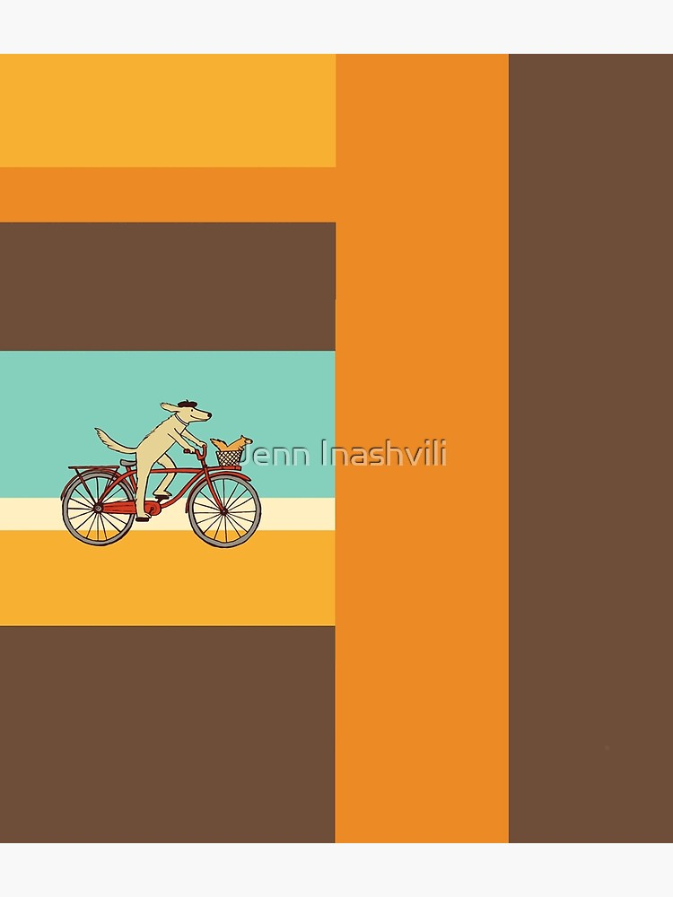 Dog and Squirrel are Friends | Whimsical Animal Art | Dog Riding a Bicycle by ShortCoffee