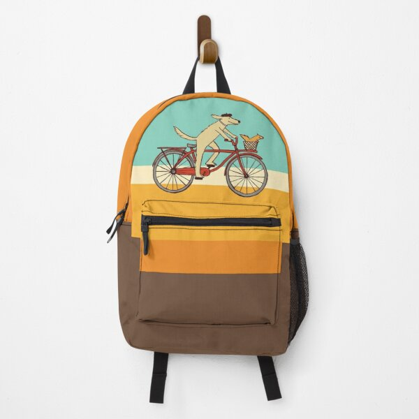 Dog and Squirrel are Friends   Whimsical Animal Art   Dog Riding a Bicycle Backpack