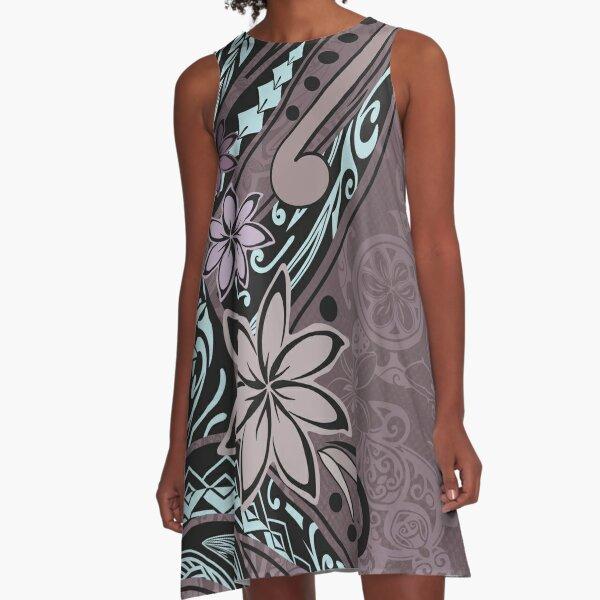 Samoan Maroon Tribal Turtle Print A-Line Dress