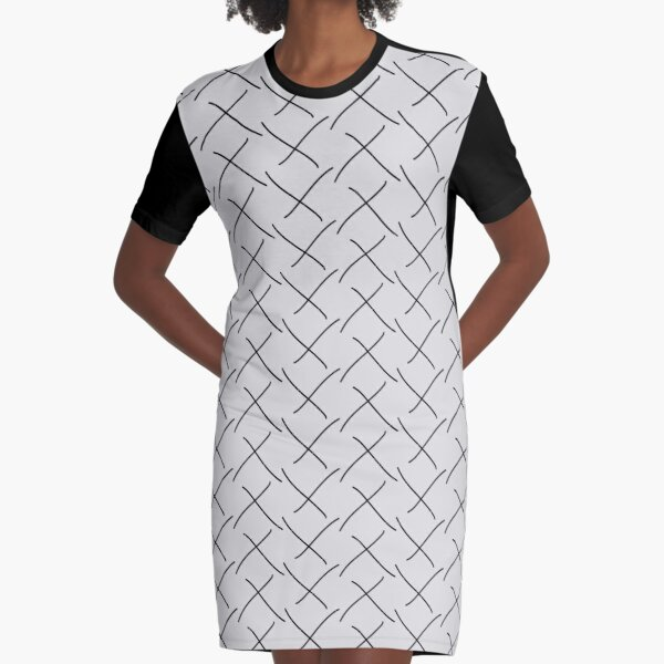 Minimal Monochrome Crosses Black on Gray | Pattern Graphic T-Shirt Dress