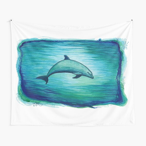 """""""Indigo Lagoon"""" by Amber Marine ~ watercolor dolphin painting, art © 2015 Tapestry"""