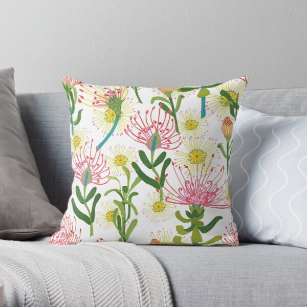Pincushion Proteas Throw Pillow