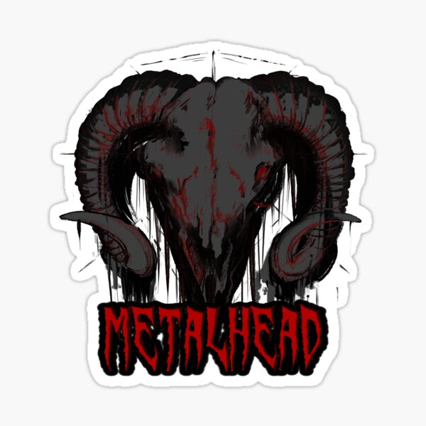 "Grey Satanic Skull ""Metalhead"" Sticker"