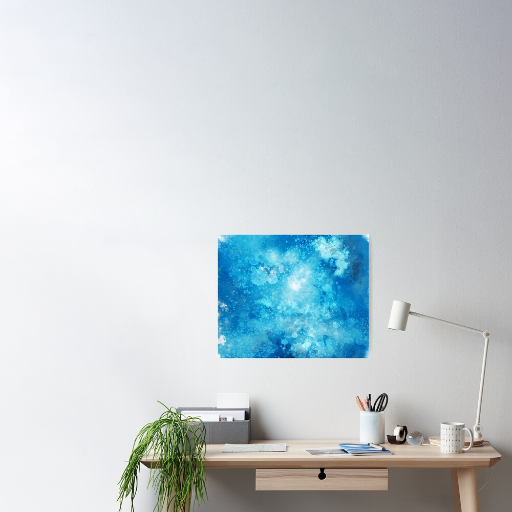 Blue watercolor spaltters Poster