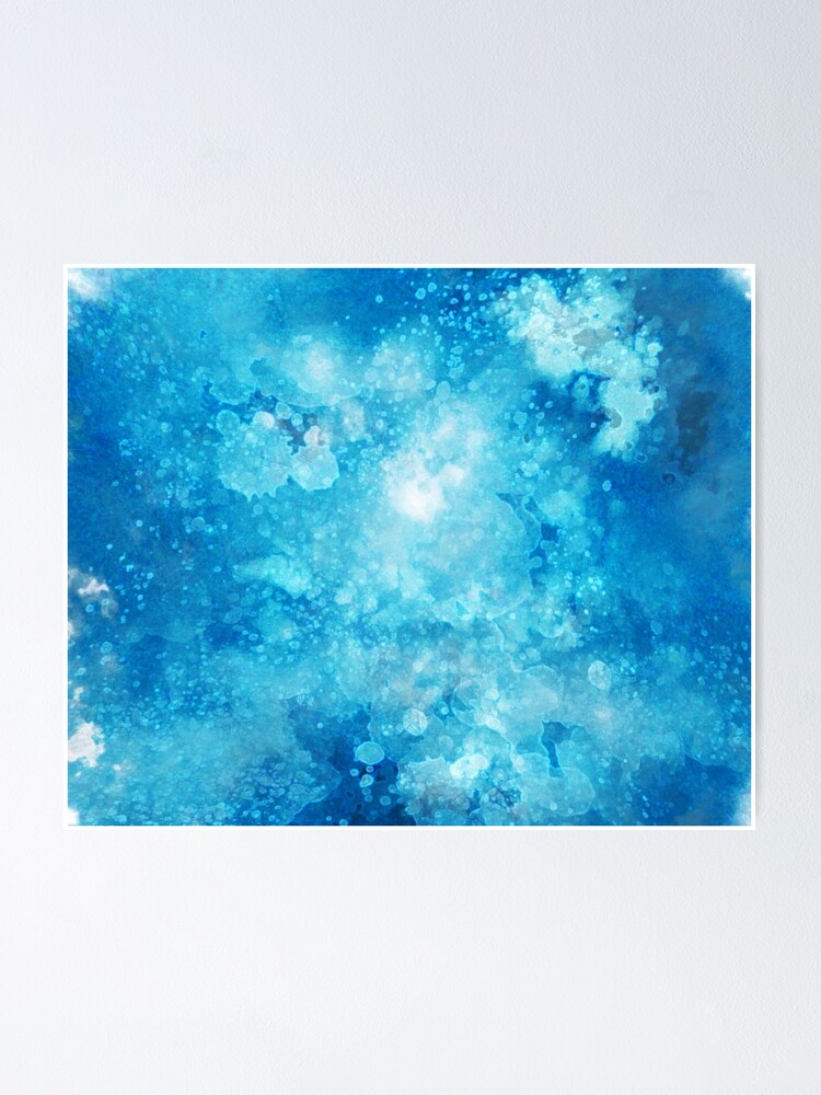Alternate view of Blue watercolor spaltters Poster