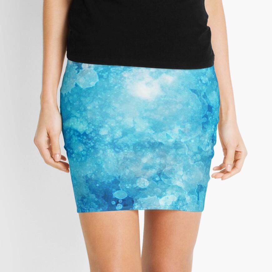 Blue watercolor spaltters Mini Skirt