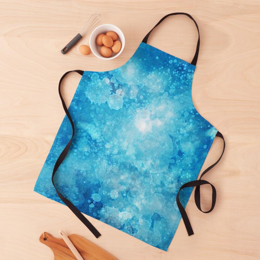 Blue watercolor spaltters Apron