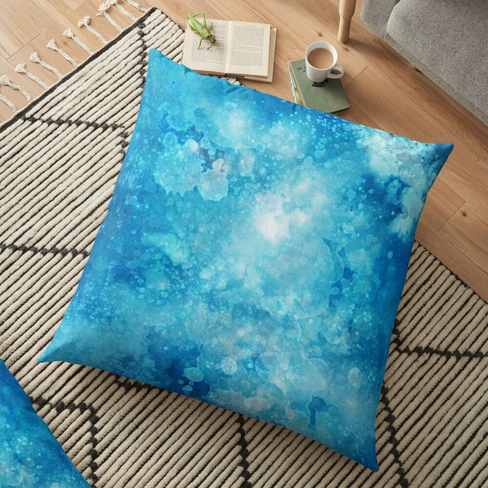 Blue watercolor spaltters Floor Pillow
