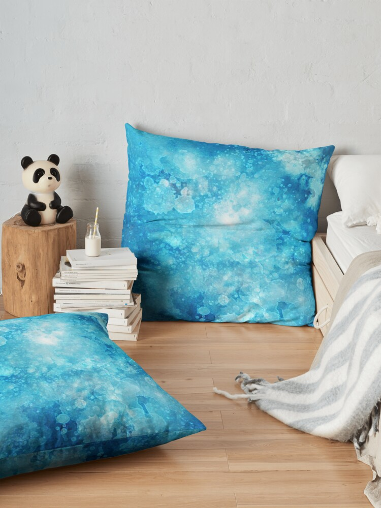 Alternate view of Blue watercolor spaltters Floor Pillow