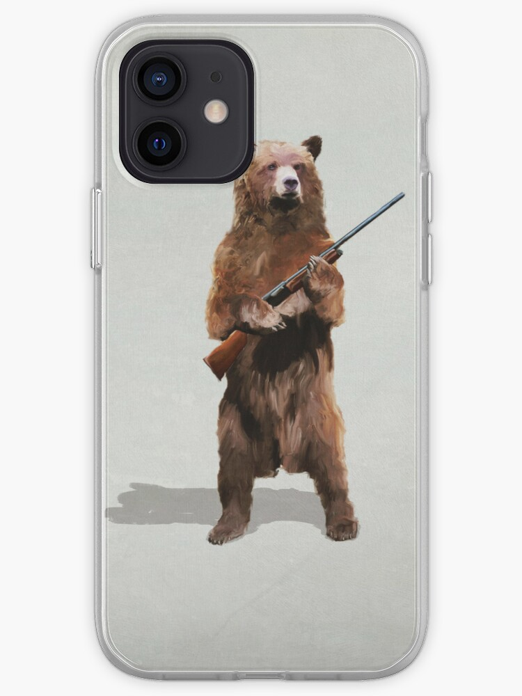 Ours avec un fusil de chasse   Coque iPhone