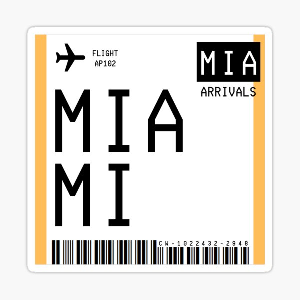 Miami Mini Boarding Pass Sticker