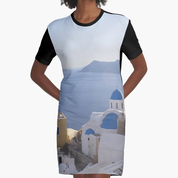 Ocean view, Santorini Oia Greece Graphic T-Shirt Dress