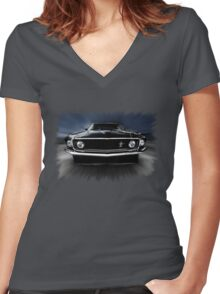 1969 FORD MUSTANG Women's Fitted V-Neck T-Shirt