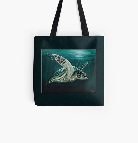 """""""Moonlit"""" by Amber Marine ~ Acrylic sea turtle painting, art © 2015 All Over Print Tote Bag"""