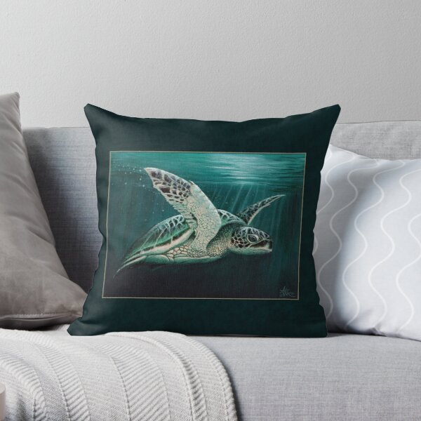 """""""Moonlit"""" by Amber Marine ~ Acrylic sea turtle painting, art © 2015 Throw Pillow"""