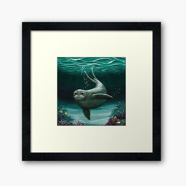 """Hawaiian Monk Seal"" by Amber Marine ~ Acrylic painting, art © 2015 Framed Art Print"