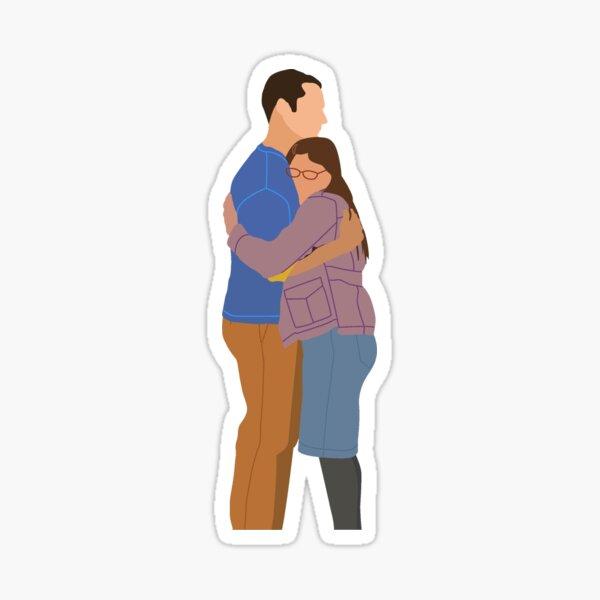 Sheldon and Amy Hug Sticker