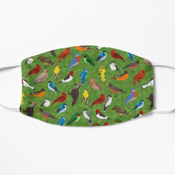 Backyard and Forest Birds on Leafy Background  Flat Mask