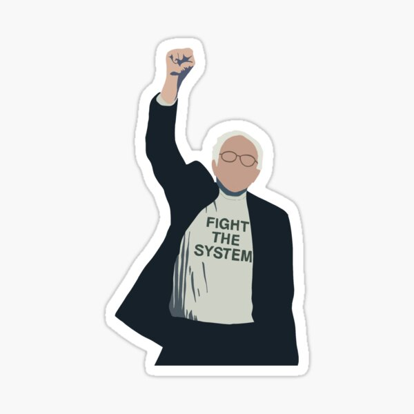 Bernie Sanders Fight the System Outline Sticker