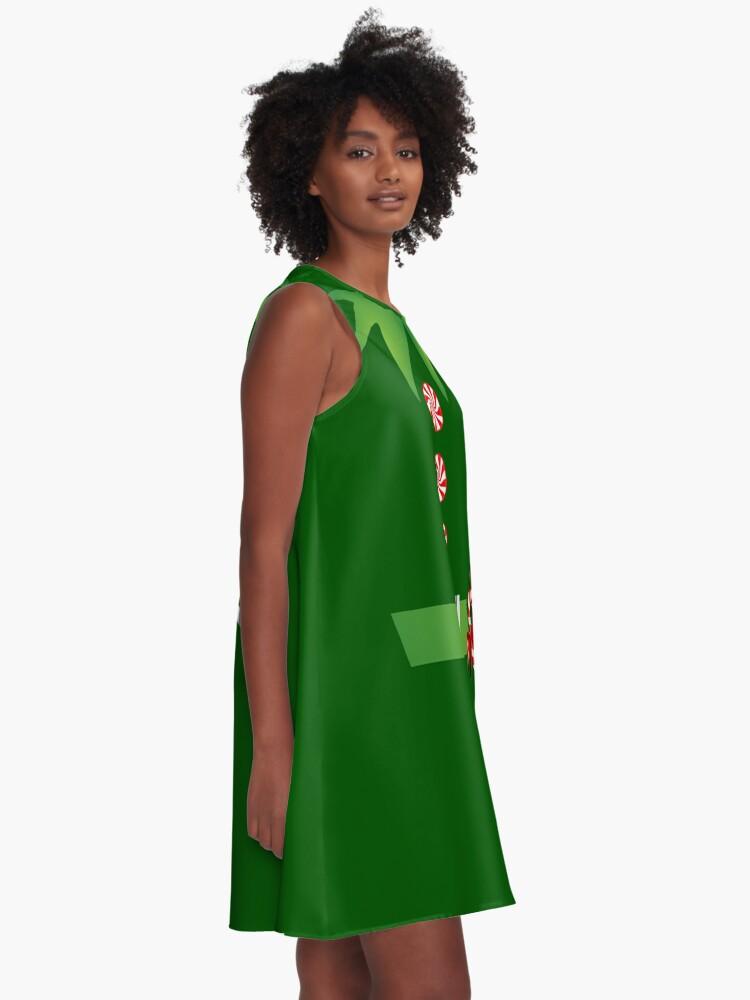 Alternate view of green elf Merry Christmas Santa's helper elf costume  A-Line Dress