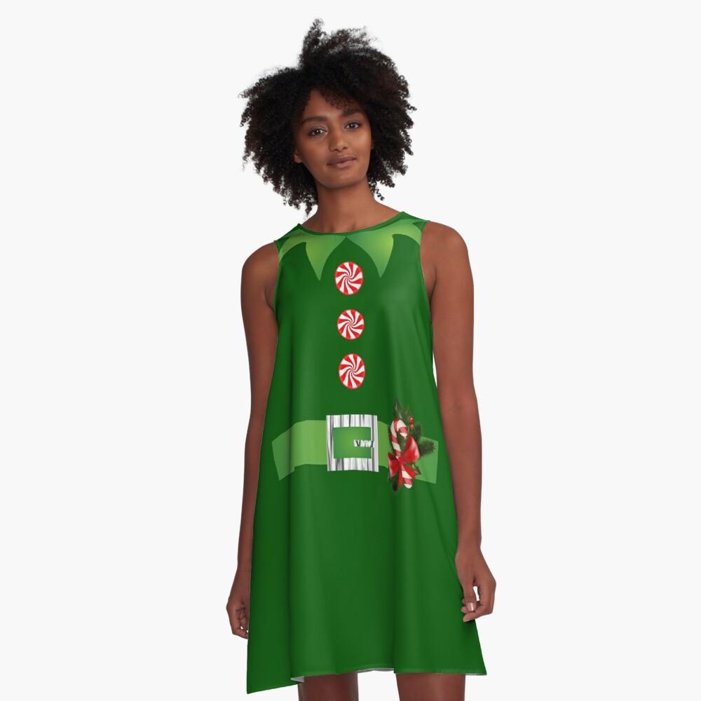 green elf Merry Christmas Santa's helper elf costume  A-Line Dress