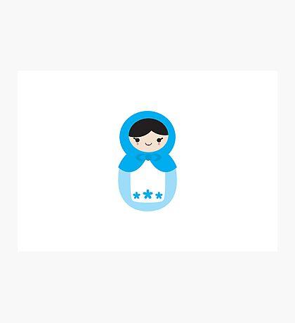 Blue Matryoshka Doll Photographic Print