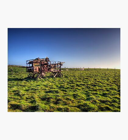 decaying farm machinery on Alderney Photographic Print
