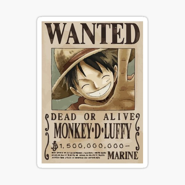 "Autocollant Anime ""Luffy Wanted"" Sticker"