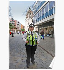 Police Lady poses in Gibraltar High Street  Poster