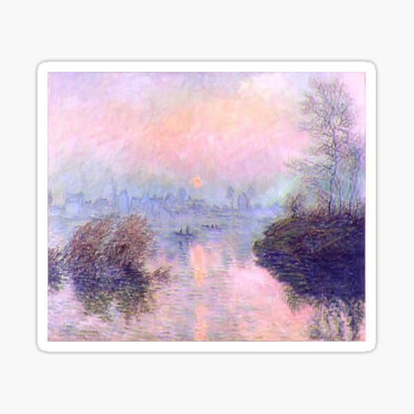 Sunset on The Seine | Claude Monet's Roseate Sunset Sticker