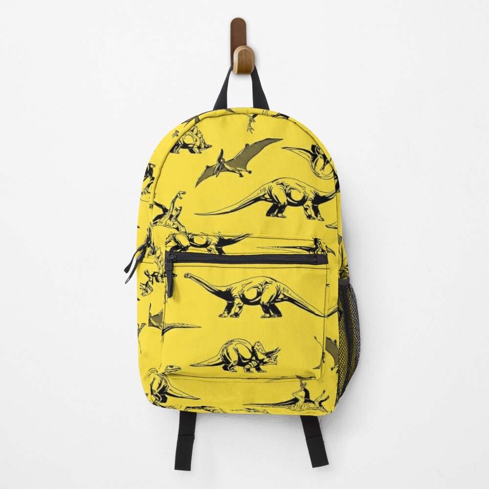 Dinosaurs on Yellow Background Backpack