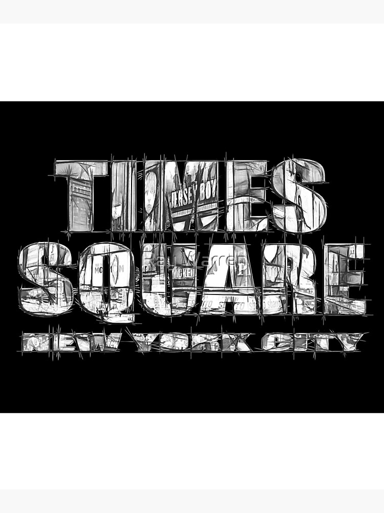 Times Square New York City (B&W marker sketch on black) by RayW