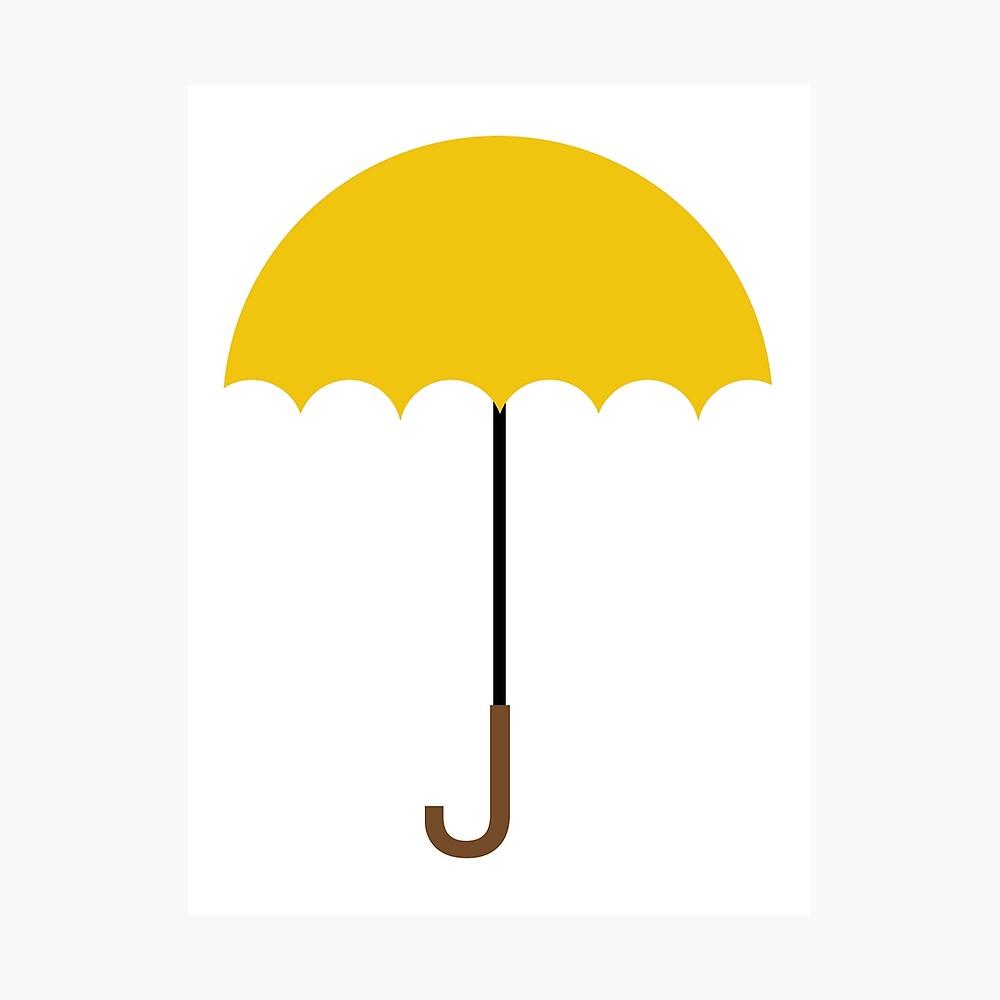Flacher gelber Regenschirm Fotodruck