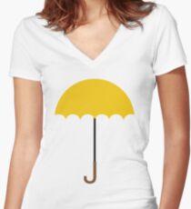 Flat Yellow Umbrella Women's Fitted V-Neck T-Shirt