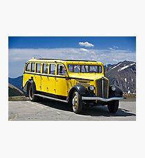 1937 White Touring Bus/Rocky Mountains Photographic Print