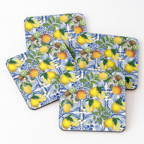Mediterranean Lemon on Blue Ceramic Tiles Coasters (Set of 4)